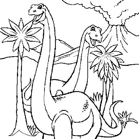 Coloriage Volcan Dinosaure